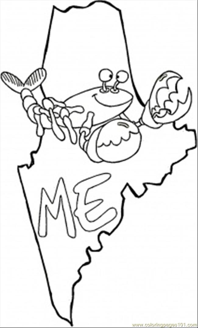 Map Of Maine Coloring Page