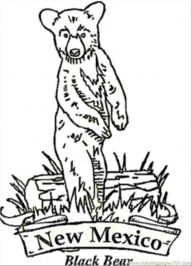 New Mexico Bear Coloring Page Free Usa Coloring Pages