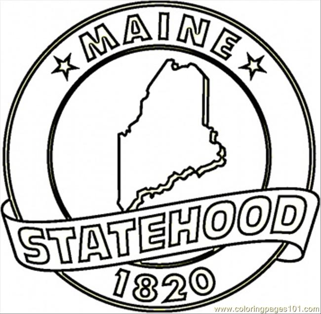 Maine Animals Coloring Pages : State of maine coloring page free usa pages