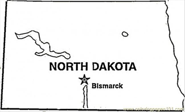 State Of North Dakota Coloring Page