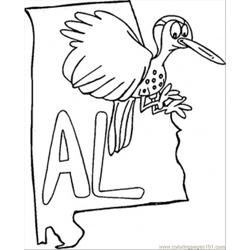 Alabama Map Free Coloring Page for Kids