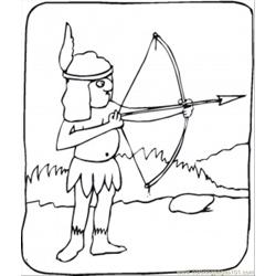 Indian With Bow Free Coloring Page for Kids
