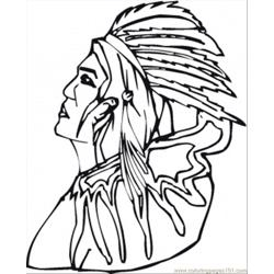 Old Red Indian Free Coloring Page for Kids