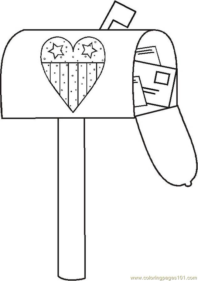 Usmailbox2bw Coloring Page Free USA Coloring Pages
