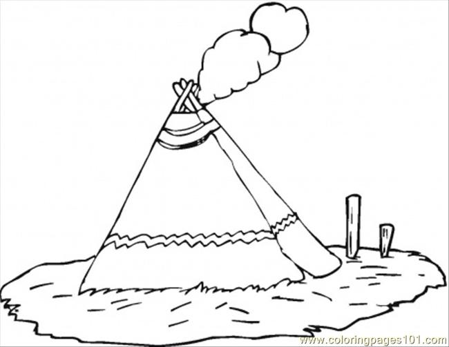 Wigwam Coloring Page Free USA Coloring Pages