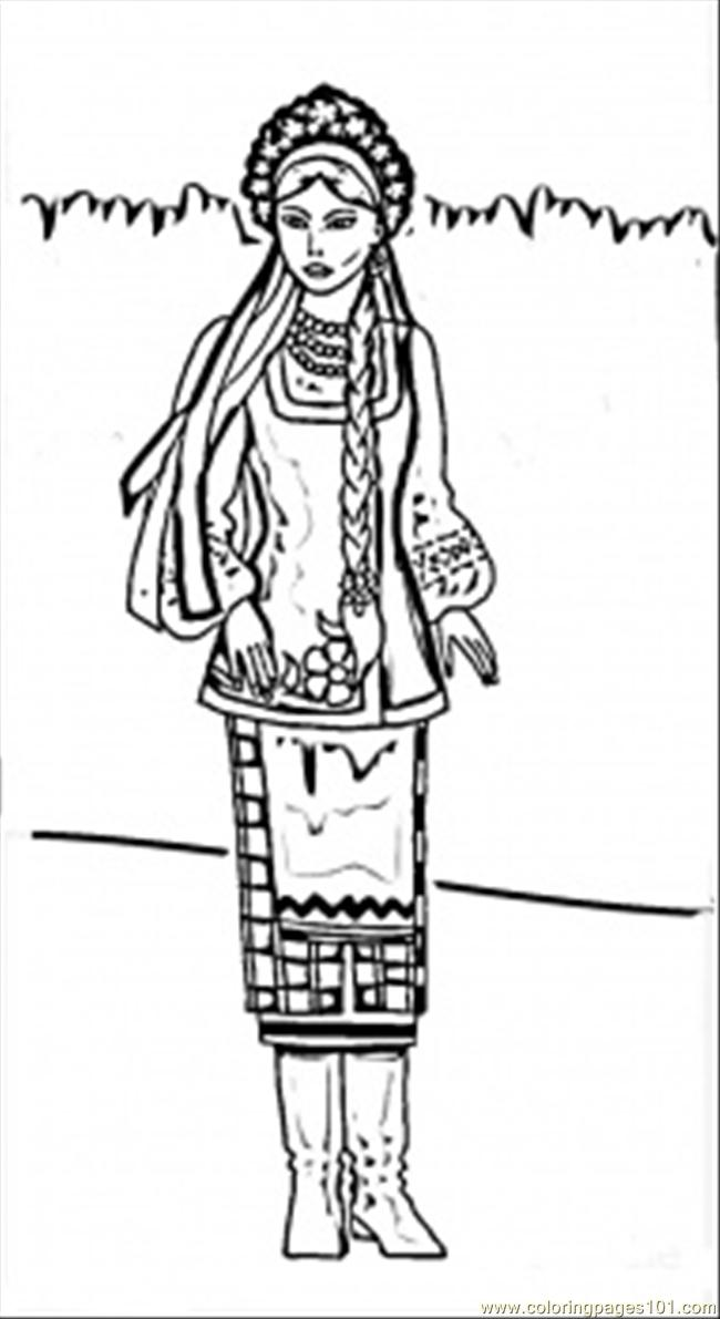 Ukrainian Woman Coloring Page
