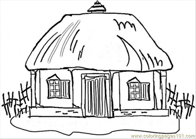Little Hous In Ukraine Coloring Page