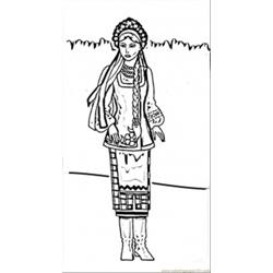 Ukrainian Woman Free Coloring Page for Kids