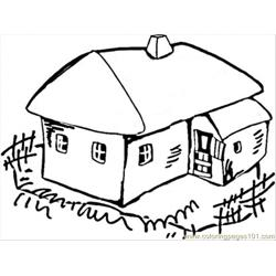 House In The Village Free Coloring Page for Kids