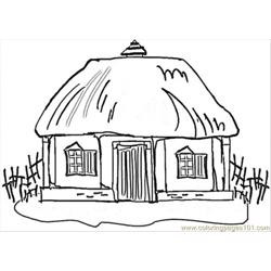 Little Hous In Ukraine Free Coloring Page for Kids