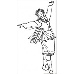 Ukrainian Dancing Woman Free Coloring Page for Kids