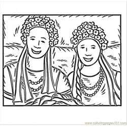 Ukrainian Girls Free Coloring Page for Kids