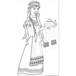 Ukrainian Girl With Home Made Bread Free Coloring Page for Kids
