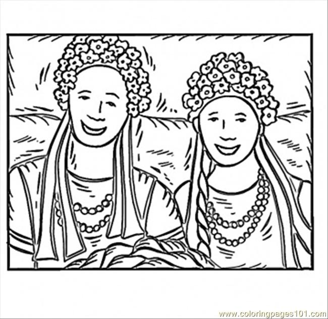 Ukrainian Girls Coloring Page