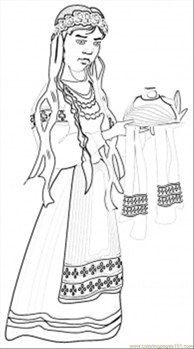 Ukrainian Girl With Home Made Bread Coloring Page Free Ukrainian Coloring Pages
