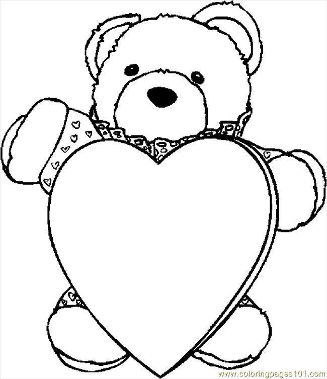 Bear With Heart 3 Coloring Page Free Valentine S Day