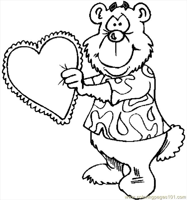 Bear With Heart 6 Coloring Page