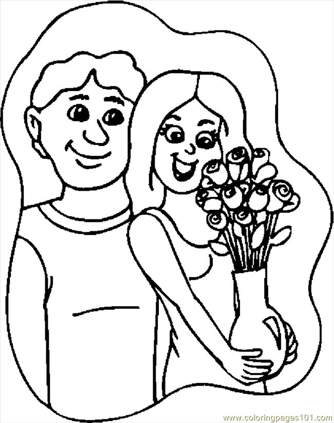 Gift   Flowers 2 Coloring Page