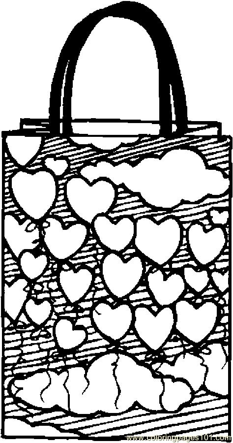 Gift bag hearts coloring page free valentine 39 s day for Bag coloring page