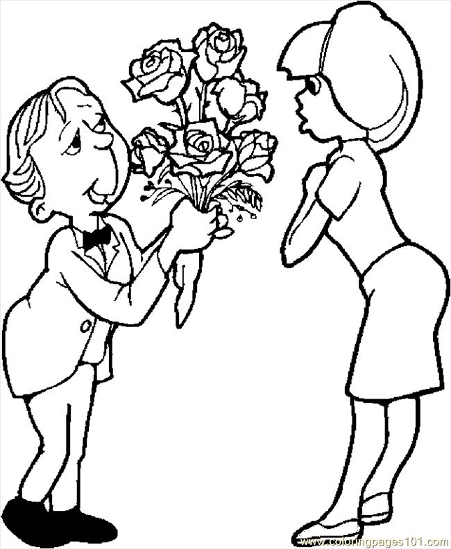 Giving Roses 1 Coloring Page Free Valentine S Day Giving Coloring Pages