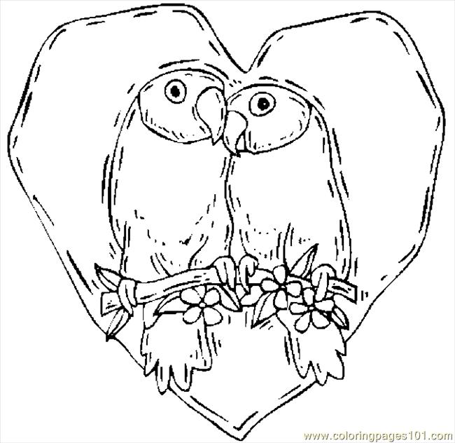 Valentines Coloring Pages Pdf : Lovers birds coloring page free valentine s day