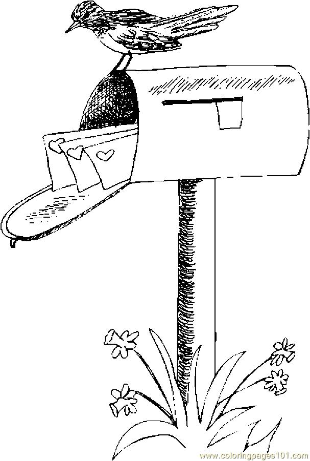 Mailbox With Valentines 1 Coloring Page
