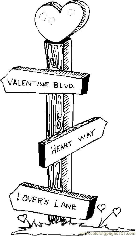 Sign Post Coloring Page Free Valentine S Day Coloring