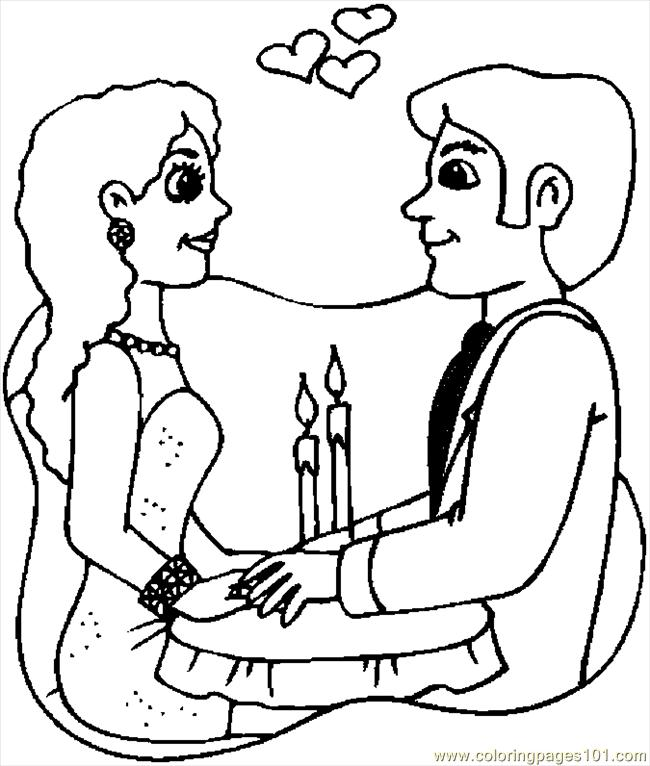 Valentine Couple 4 Coloring Page