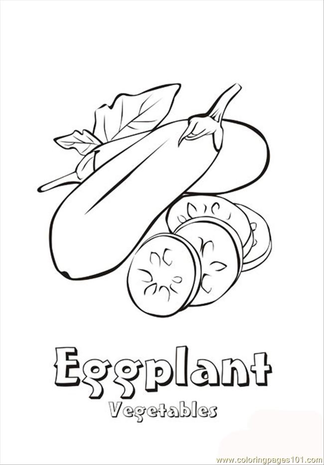 Eggplant Coloring Page Free Vegetables