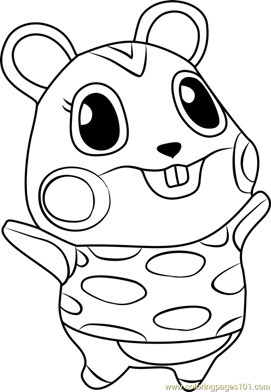 Apple animal crossing coloring page