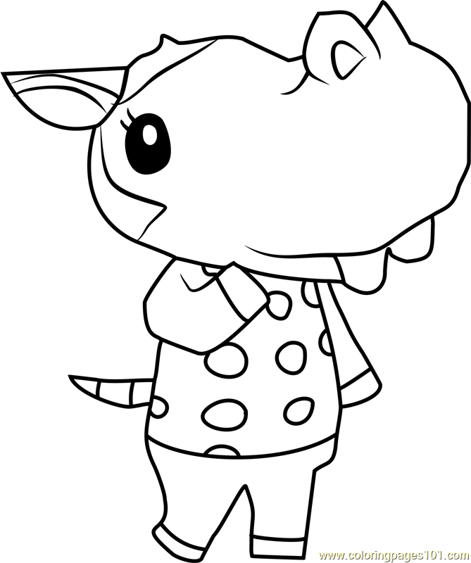 bertha animal crossing coloring page