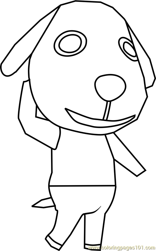 Biskit Animal Crossing Coloring Page Free Animal Crossing