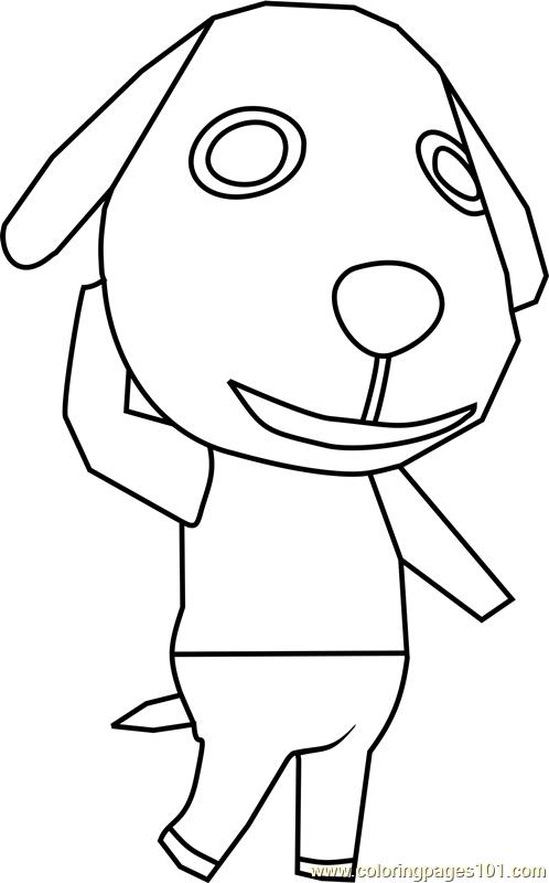 Biskit Animal Crossing Coloring Page Free Animal Crossing