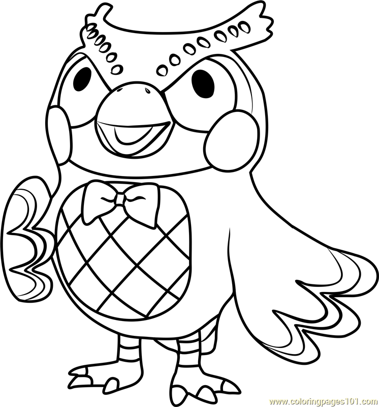 blathers animal crossing coloring page