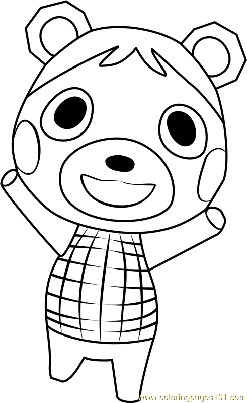 bluebear animal crossing coloring page