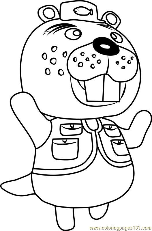 Chip Animal Crossing Coloring Page Free Animal Crossing