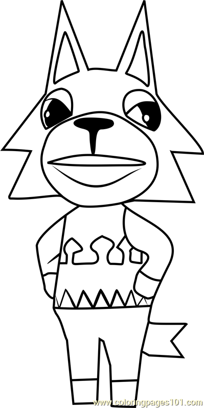 Fang Animal Crossing Coloring Page