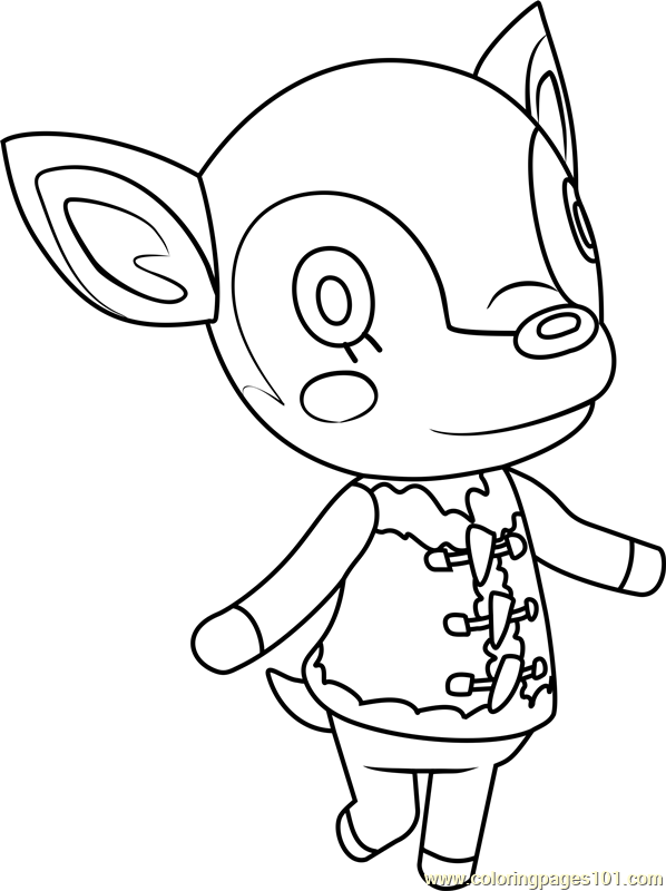 Fauna Animal Crossing Coloring Page Free Animal Crossing