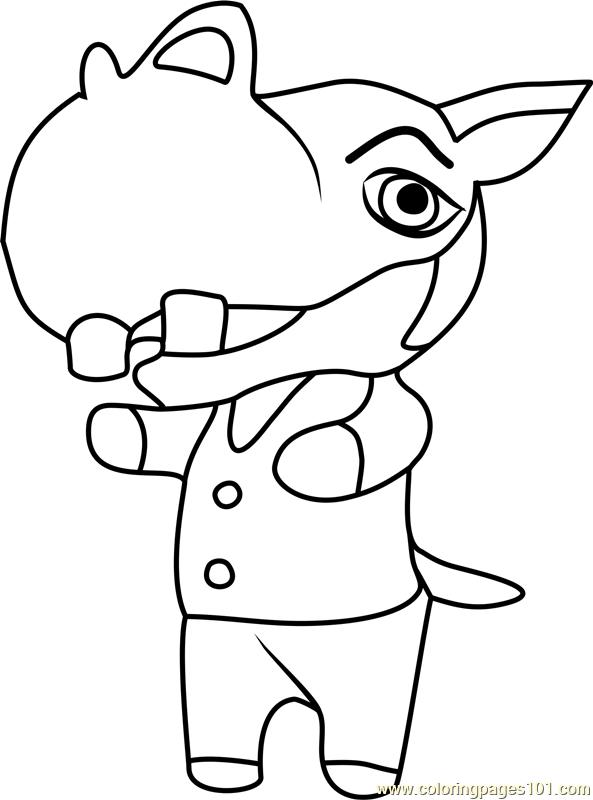Hippeux Animal Crossing Coloring Page