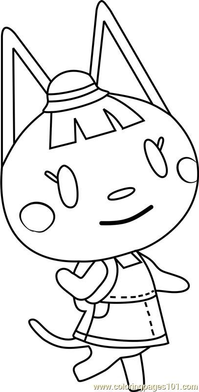Katie animal crossing coloring page