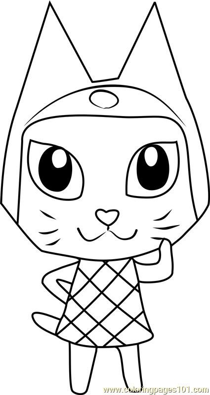 Meow Animal Crossing Coloring Page