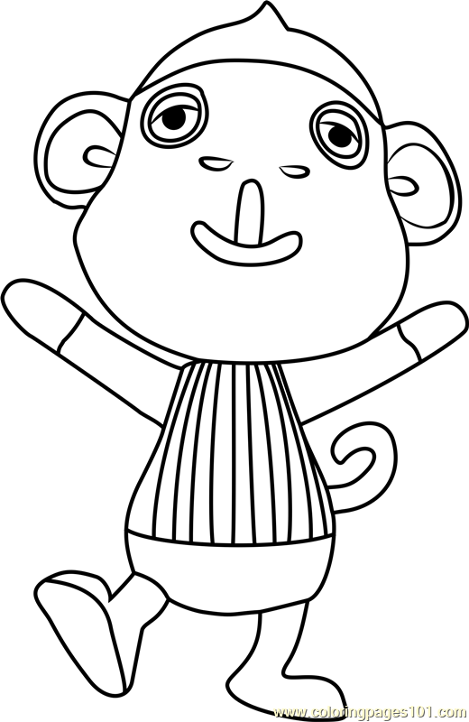monty animal crossing coloring page