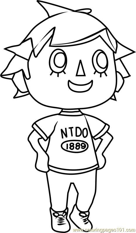 Player animal crossing coloring page