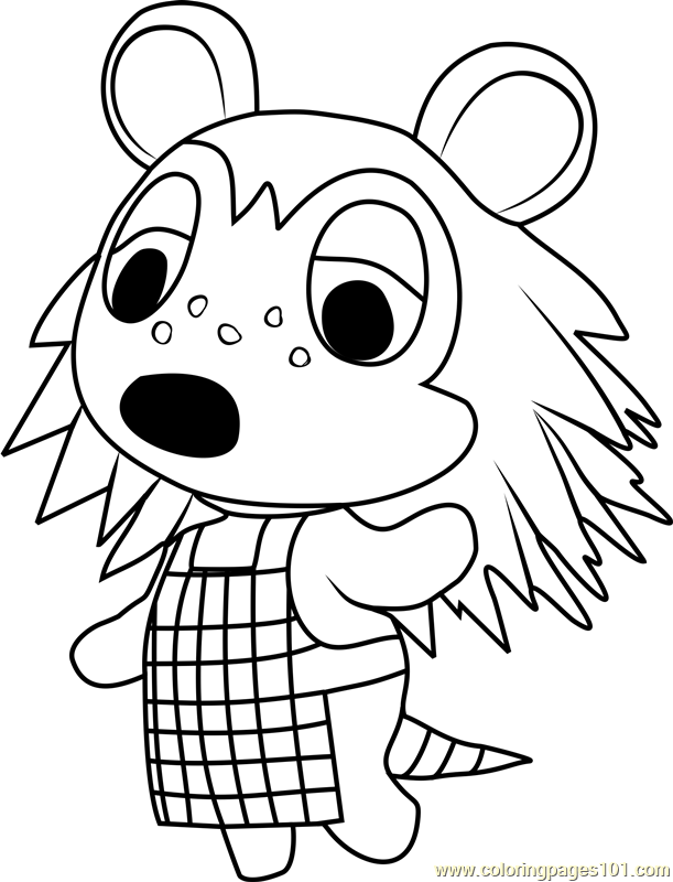 sable animal crossing coloring page
