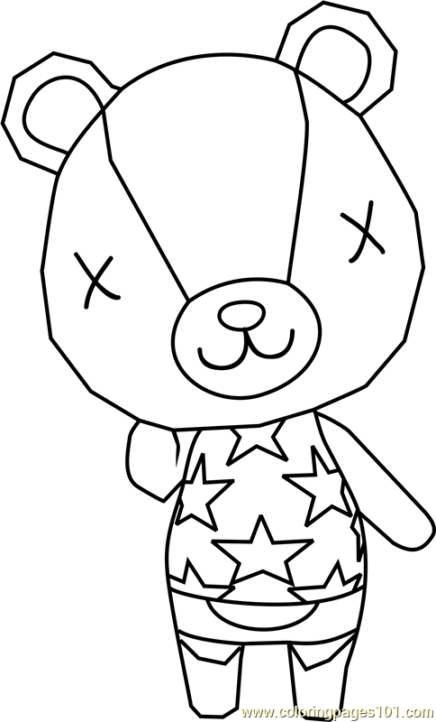 Stitches Animal Crossing Coloring Page