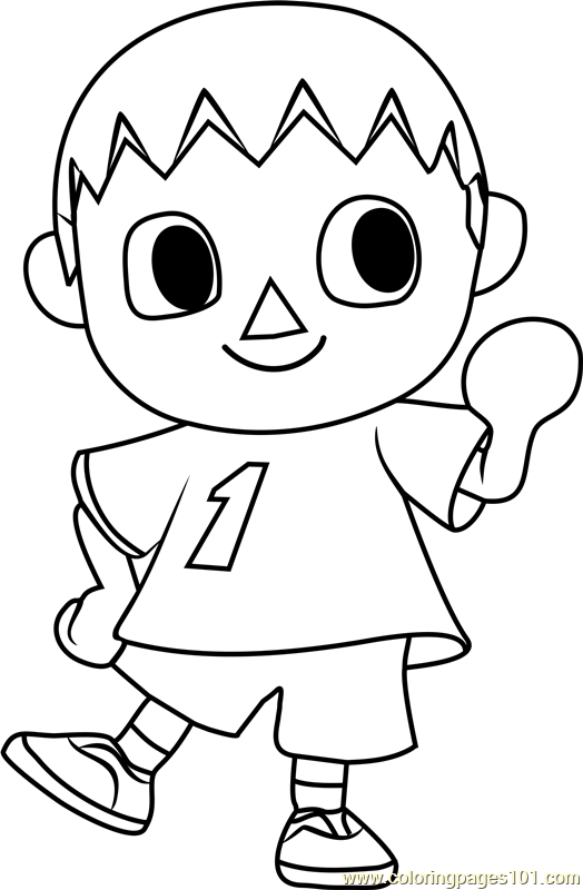the villager animal crossing coloring page  free animal