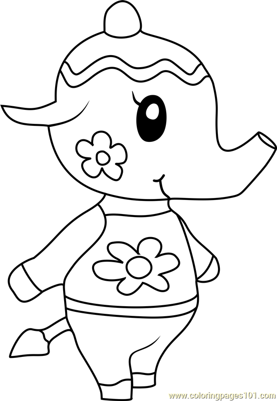 Tia animal crossing coloring page