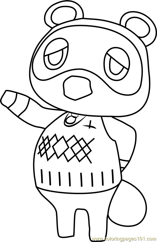 tom nook animal crossing coloring page