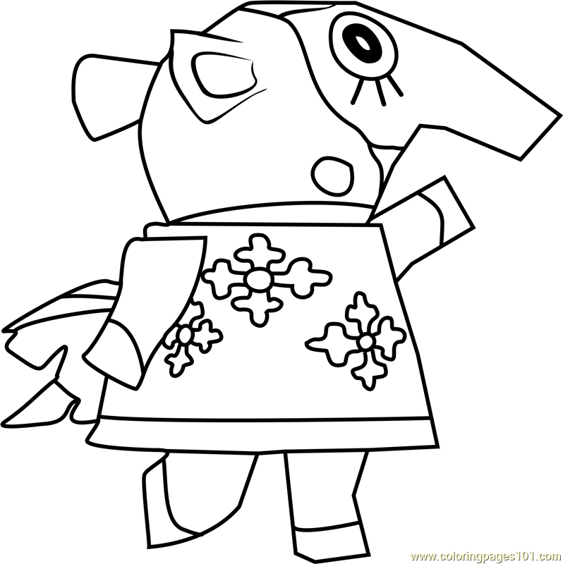 zoe animal crossing coloring page
