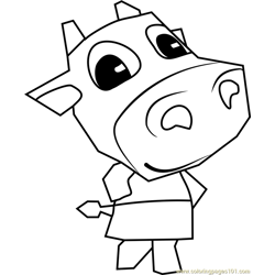 Belle Animal Crossing Free Coloring Page for Kids